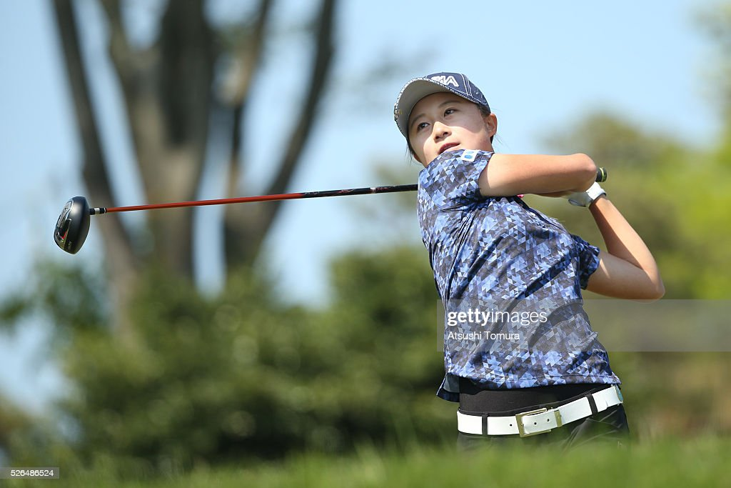 <a gi-track='captionPersonalityLinkClicked' href=/galleries/search?phrase=Haruka+Morita&family=editorial&specificpeople=9453897 ng-click='$event.stopPropagation()'>Haruka Morita</a> of Japan hits her tee shot on the 10th hole during the second round of the CyberAgent Ladies Golf Tournament at the Grand Fields Country Club on April 30, 2016 in Mishima, Japan.