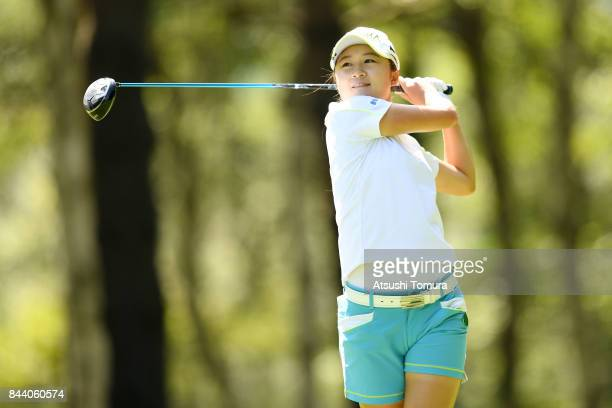 Haruka Morita of Japan hits her tee shot on the 12th hole during the second round of the 50th LPGA Championship Konica Minolta Cup 2017 at the Appi...