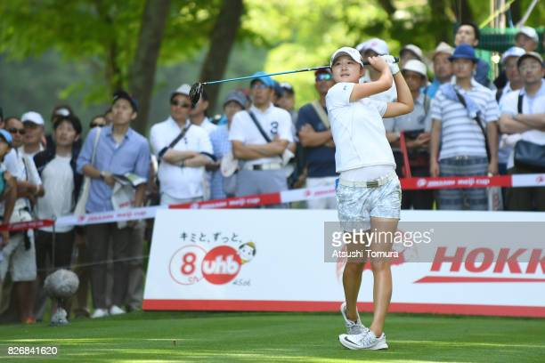 Haruka Morita of Japan hits her tee shot on the 16th hole during the final round of the meiji Cup 2017 at the Sapporo Kokusai Country Club Shimamatsu...