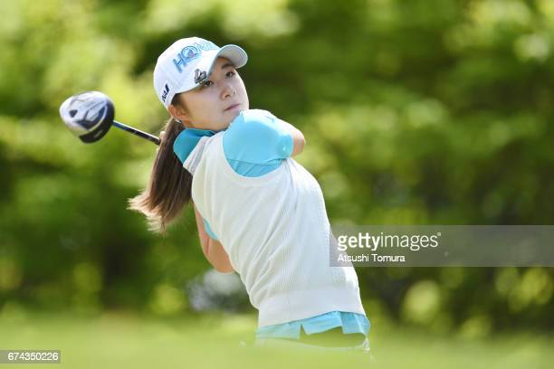 Haruka Morita of Japan hits her tee shot on the 2nd hole during the first round of the CyberAgent Ladies Golf Tournament at the Grand Fields Country...