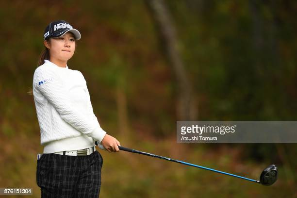 Haruka Morita of Japan hits her tee shot on the 2nd hole during the final round of the Daio Paper Elleair Ladies Open 2017 at the Elleair Golf Club...