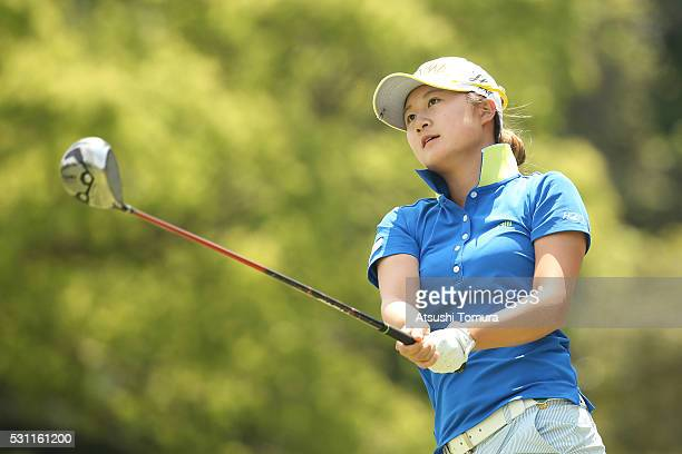Haruka Morita of Japan hits her tee shot on the 3rd hole during the first round of the HokennoMadoguchi Ladies at the Fukuoka Country Club Ishino...
