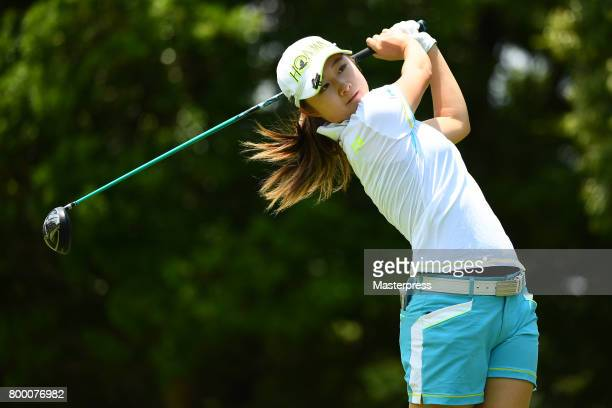 Haruka Morita of Japan hits her tee shot on the 6th hole during the second round of the Earth Mondamin Cup at the Camellia Hills Country Club on June...