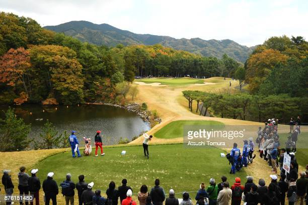 Haruka Morita of Japan hits her tee shot on the 8th hole during the final round of the Daio Paper Elleair Ladies Open 2017 at the Elleair Golf Club...