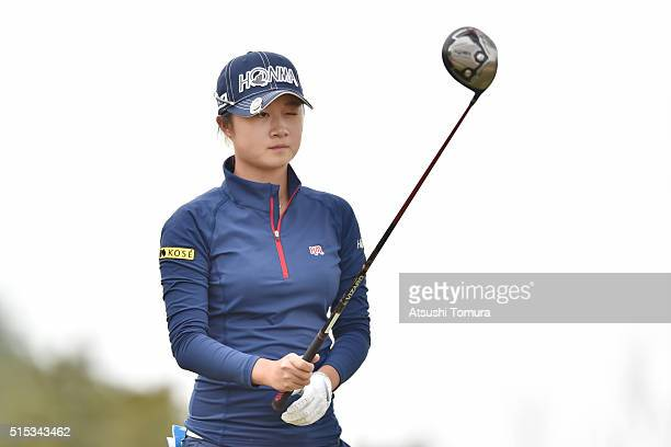Haruka Morita of Japan lines up her tee shot on the 3rd hole during the final round of the Yokohama Tire PRGR Ladies Cup at the Tosa Country Club on...