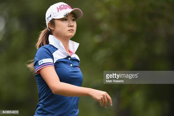Haruka Morita of Japan looks on during the first round of the 50th LPGA Championship Konica Minolta Cup 2017 at the Appi Kogen Golf Club on September...