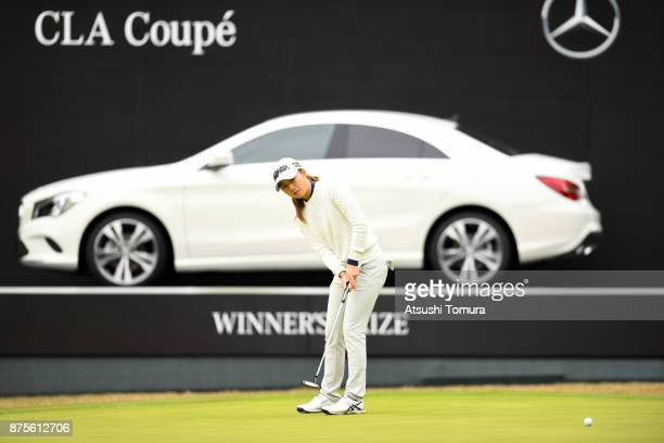 Haruka Morita of Japan putts on the 18th hole during the third round of the Daio Paper Elleair Ladies Open 2017 at the Elleair Golf Club on November...