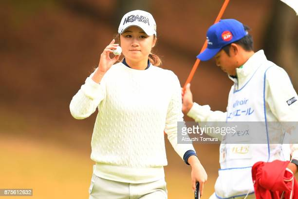 Haruka Morita of Japan reacts during the third round of the Daio Paper Elleair Ladies Open 2017 at the Elleair Golf Club on November 18 2017 in...