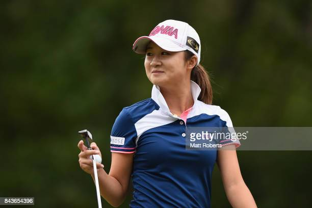 Haruka Morita of Japan smiles during the first round of the 50th LPGA Championship Konica Minolta Cup 2017 at the Appi Kogen Golf Club on September 7...