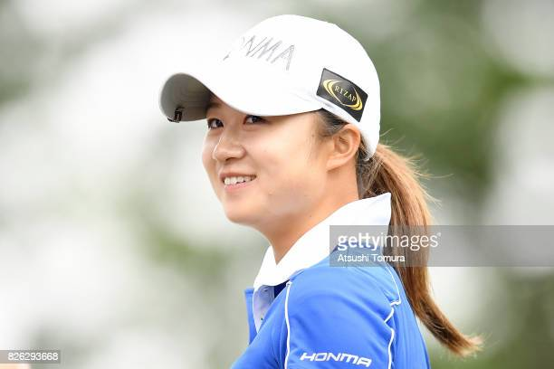 Haruka Morita of Japan smiles during the first round of the meiji Cup 2017 at the Sapporo Kokusai Country Club Shimamatsu Course on August 4 2017 in...
