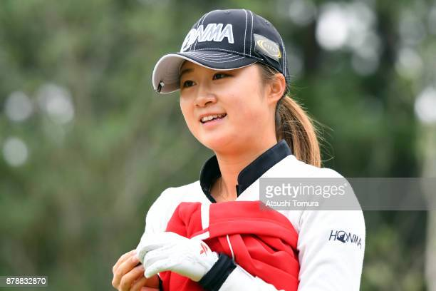 Haruka Morita of Japan smiles during the third round of the LPGA Tour Championship Ricoh Cup 2017 at the Miyazaki Country Club on November 25 2017 in...