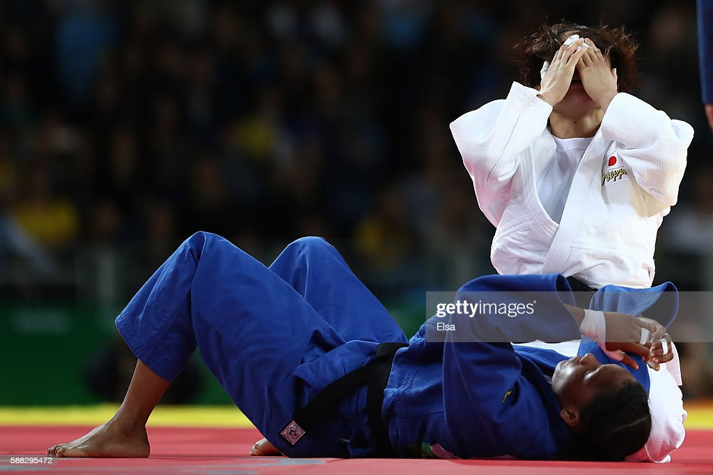Haruka Tachimoto of Japan celebrates after defeating Yuri Alvear of Colombia during the Women's -70kg Gold Medal bout on Day 5 of the Rio 2016 Olympic Games at Carioca Arena 2 on August 10, 2016 in Rio de Janeiro, Brazil.