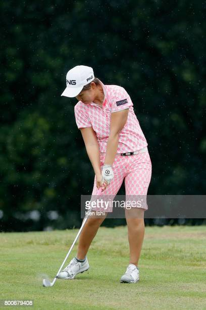 Haruka Yamaguchi of Japan hits a second shot on the 18th hole during the final round of the Yupiteru The Shizuoka Shimbun SBS Ladies at the Shizuoka...