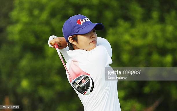 Harukyo Nomura of Japan hits her tee shot on the fifth hole during the second round of the Women's Individual Stroke Play golf on Day 13 of the Rio...