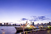Harumi Terminal Port and cityscape of Tokyo, Chuo Ward, Tokyo Prefecture, Honshu, Japan
