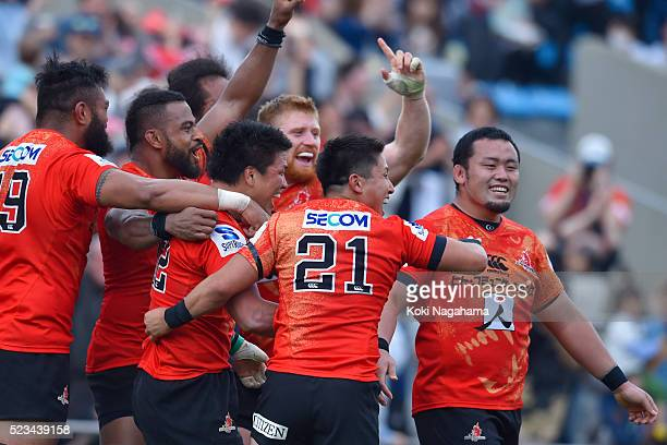 Harumichi Tachikawa of Sunwolves celebrate the try and a win with teammates during the round nine Super Rugby match between the Sunwolves and the...