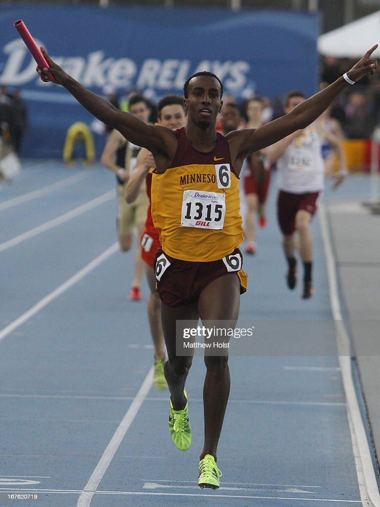 Harun Abda of the Minnesota Gophers celebrates after anchoring a victory in the Men's 4x800 Meter Relay at the Drake Relays, on April 26, 2013 at Drake Stadium, in Des Moines, Iowa.