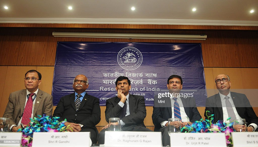 Harun R Khan, Deputy Governor, R Gandhi, Deputy Governor, Raghuram Rajan, Governor, Urjit Patel, Deputy Governor and SS Mundra, Deputy Governor of Reserve Bank of India, addressing a press conference after board meet on December 11, 2015 in Kolkata, India.