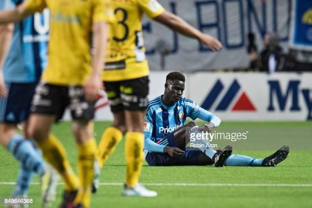 Haruna Garba of Djurgardens IF dejected after the Allsvenskan match between IF Elfsborg and Djurgardens IF at Boras Arena on September 19 2017 in...