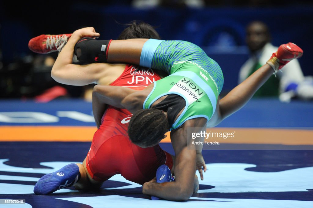 Haruna Okuno of Japan and Odunayo Folasade Adekuoroye of Nigeria during the female 55 kg wrestling competition of the Paris 2017 Women's World Championships at AccorHotels Arena on August 23, 2017 in Paris, France.