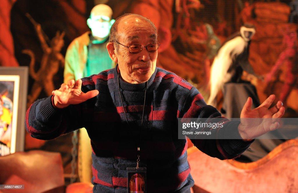 Haruo Nakajima (the original Godzilla) speaks on the panel 'There Goes Tokyo!' at Kirk Von Hammett's Fear FestEvil at Grand Regency Ballroom on February 8, 2014 in San Francisco, California.