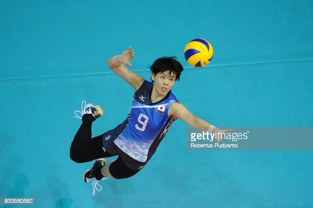 Haruyo Shimamura of Japan spikes during the 19th Asian Senior Women's Volleyball Championship 2017 Final match between Thailand and Japan at Alonte...