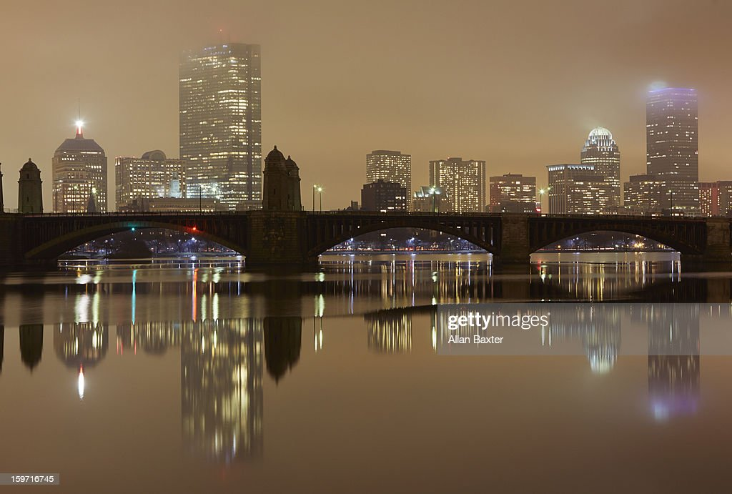 Harvard Bridge with Boston Skyline : Stock Photo