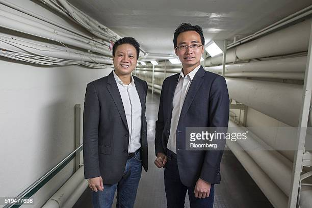 Harvard Business School students and cofounders of Funding Societies Reynold Wijaya left and Kelvin Teo stand for a photograph at the school in...