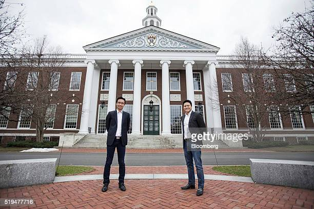 Harvard Business School students and cofounders of Funding Societies Kelvin Teo left and Reynold Wijaya stand for a photograph at the school in...