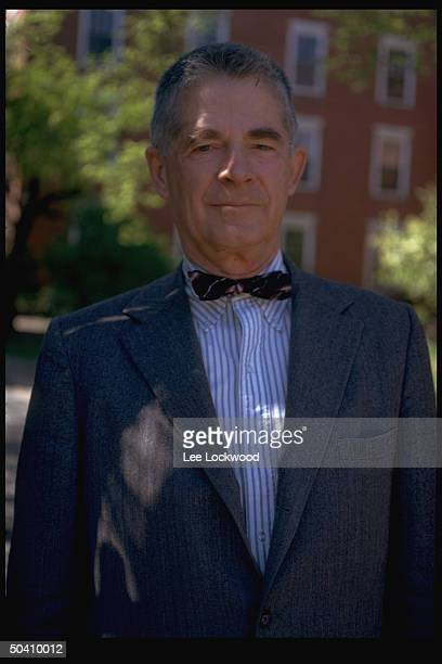 Harvard Law Professor and former Watergate Special Prosecutor Archibald Cox standing on University campus