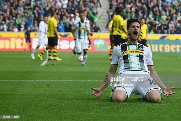 Harvard Nordtveit of Moenchengladbach celebrates the third goal during the Bundesliga match between Borussia Moenchenglkadbach and Borussia Dortmund...