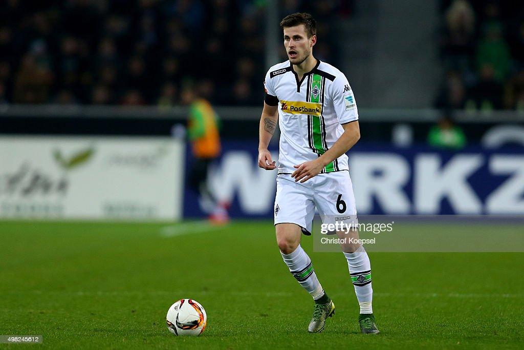 Harvard Nordtveit of Moenchengladbach runs with the ball during the Bundesliga match between Borussia Moenchengladbach and Hannover 96 at Borussia-Park on November 21, 2015 in Moenchengladbach, Germany.