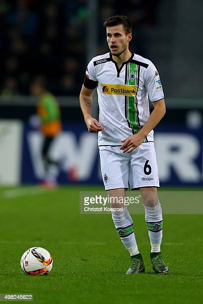 Harvard Nordtveit of Moenchengladbach runs with the ball during the Bundesliga match between Borussia Moenchengladbach and Hannover 96 at...