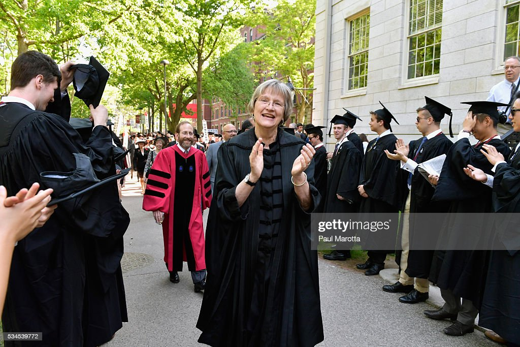Harvard President Drew Gilpin Faust attends the Harvard University 365th Commencement Exerices on May 26, 2016 in Cambridge, Massachusetts.