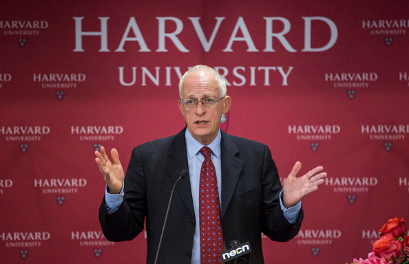 Harvard Professor Oliver Hart during a press conference at Harvard announcing his shared Nobel Prize in Economics with MIT Professor Bengt Holmstrom...