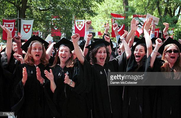Harvard University graduates celebrate June 8 2000 after receiving degrees during commencement exercises at Harvard University in Cambridge MA