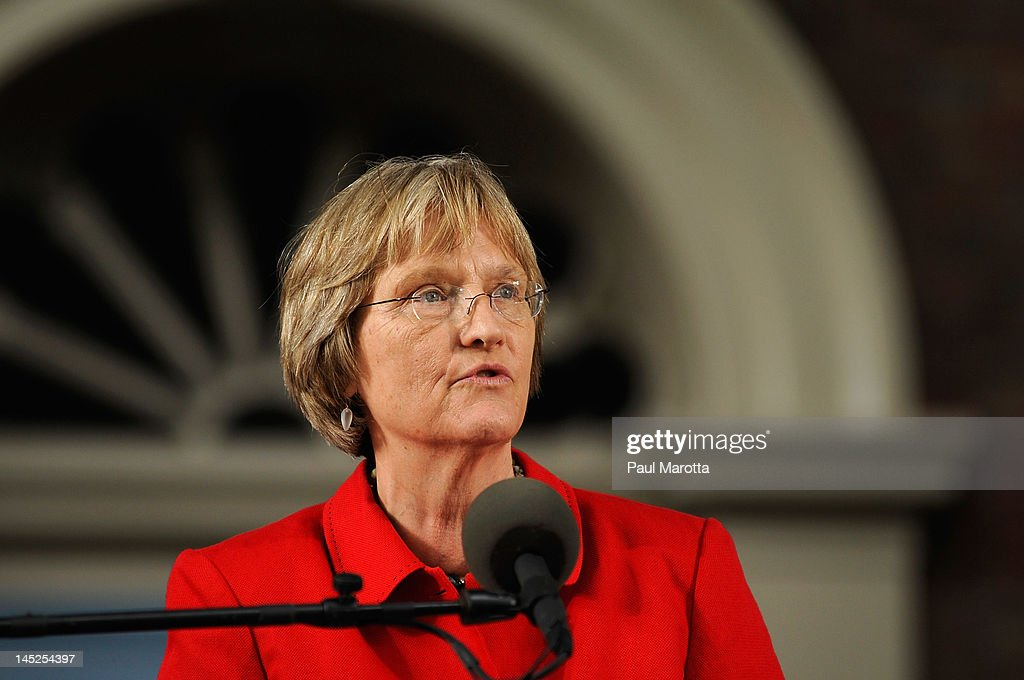 Harvard University President Drew Gilpin Faust speaks at the Annual Meeting of the Harvard University Alumni Association at the 2012 Harvard Commencement on May 24, 2012 in Cambridge, Massachusetts.