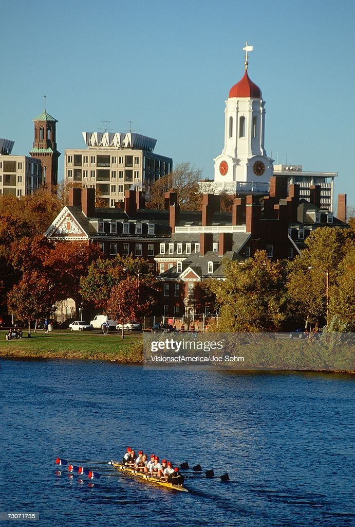 'Harvard University rowing crew at the autumn regatta in Cambridge, Massachusetts'