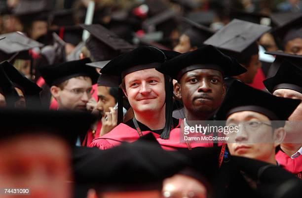 Harvard University students listen as commencement ceremonies wrap up at Harvard University June 7 2007 in Cambridge Massachusetts Microsoft...