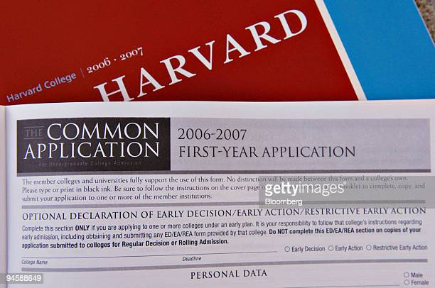 Harvard University undergraduate admissions application is shown in Cambridge Massachusetts Tuesday September 12 2006 Harvard University will end its...
