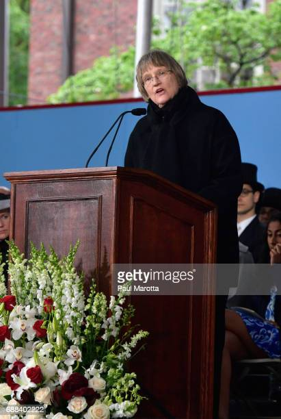 Harvard Unversity President Drew Faust speaks at the Alumni Exercises at Harvard's 366th commencement exercises on May 25 2017 in Cambridge...