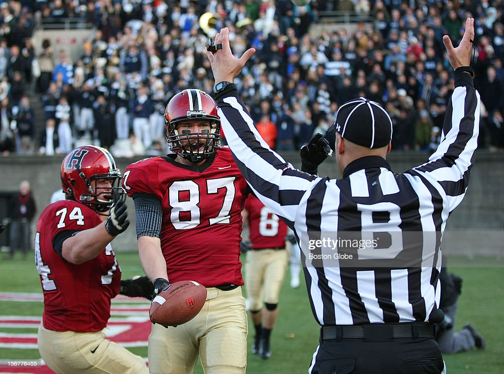 Harvard's Cameron Brate caught a fourth quarter touchdown, as Parker Sebastian, left, celebrates with him, as Harvard University hosts Yale University during their annual game, Nov. 17, 2012 at Harvard Stadium.