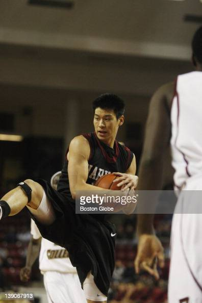 Harvard's Jeremy Lin with the ball Harvard University vs Boston College basketball