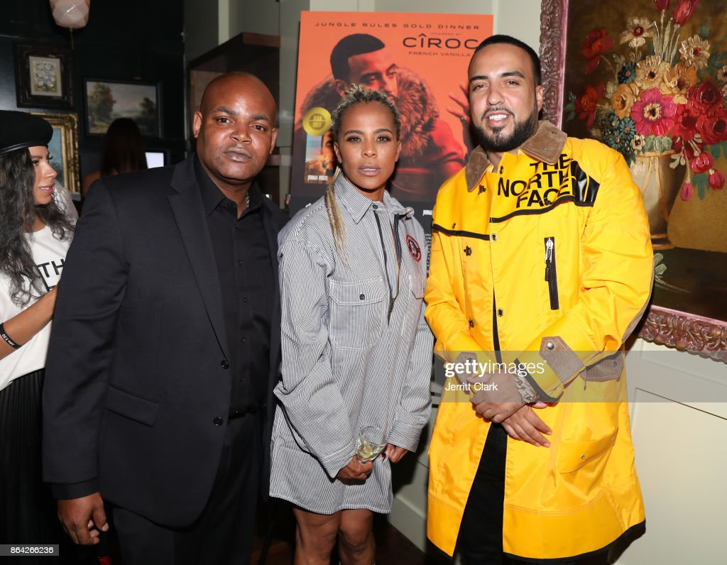 Harve Pierre, Lori Ann Gibson and French Montana attend Ciroc & Epic Records present French Montana 'Jungle Rules' Gold Dinner at Poppy on October 20, 2017 in Los Angeles, California.