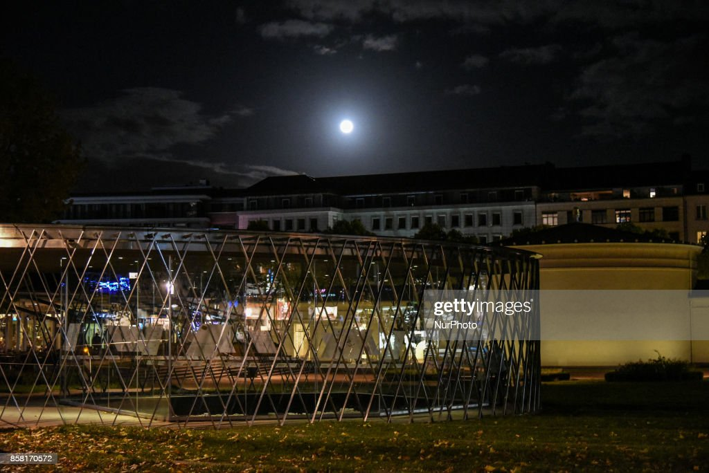 Harvest Moon, the full moon of autumn in the center of the medieval city of Aachen on October 5, 2017