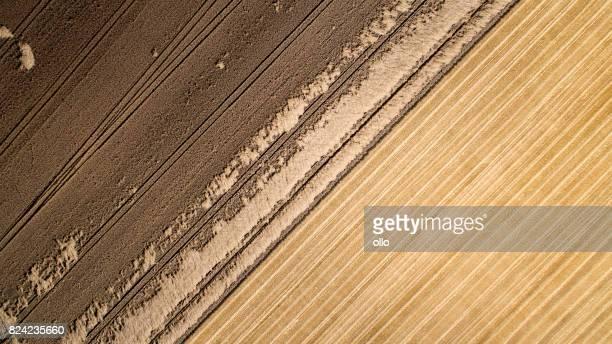 Champs de blé moissonné et partiellement détruite - vue aérienne