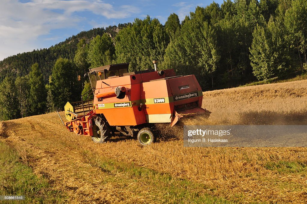 Harvester working in the field.