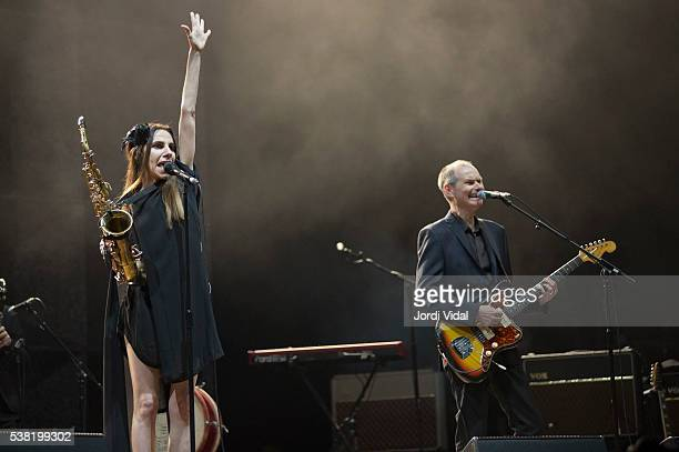 Harvey and John Parish perform on stage during Primavera Sound Festival Day 4 at Parc del Forum on June 4 2016 in Barcelona Spain