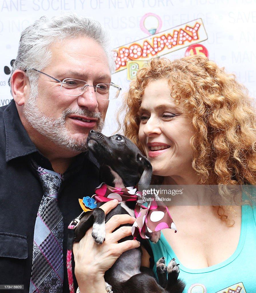 Harvey Fierstein and Bernadette Peters host Broadway Barks 15 in Shubert Alley on July 13, 2013 in New York City.