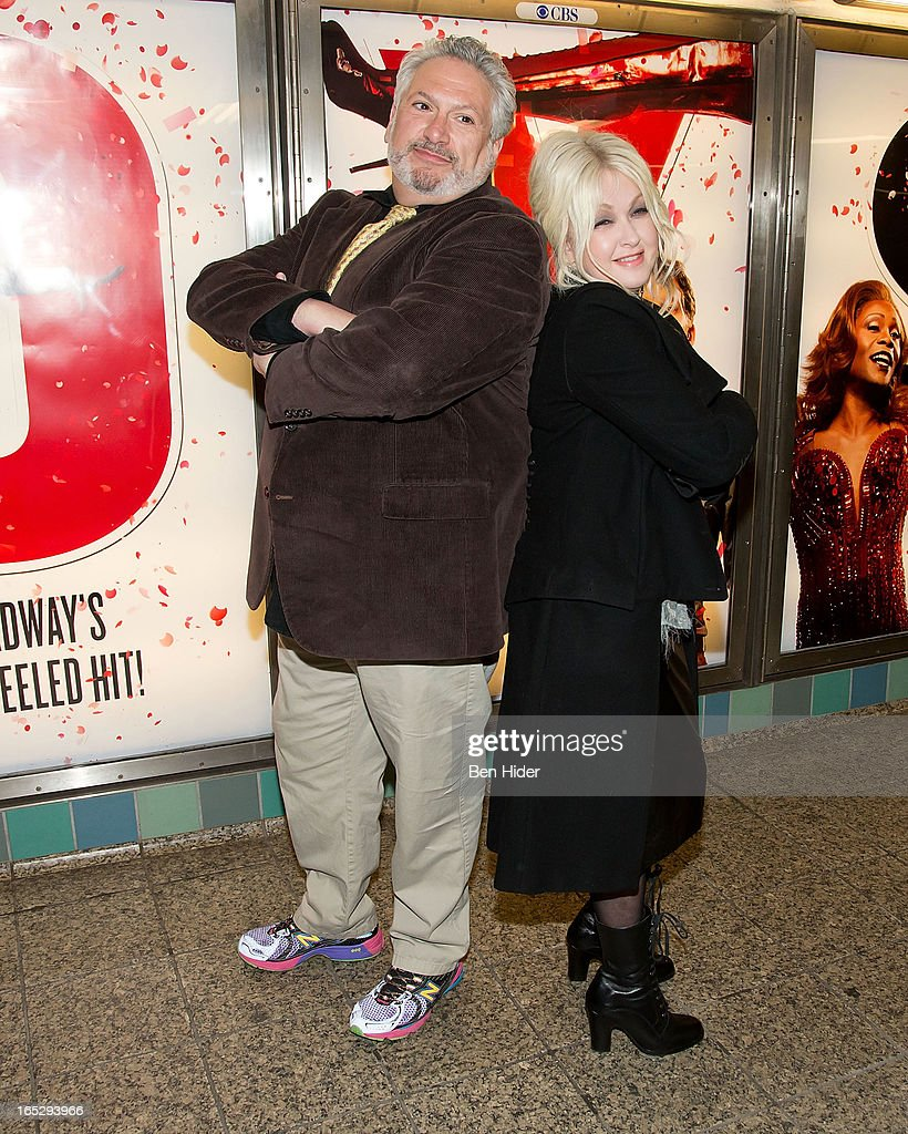 Harvey Fierstein and Cyndi Lauper attend Broadway's 'Kinky Boots' Everybody Say Yeah Ad Unveiling in Times Square on April 2, 2013 in New York City.